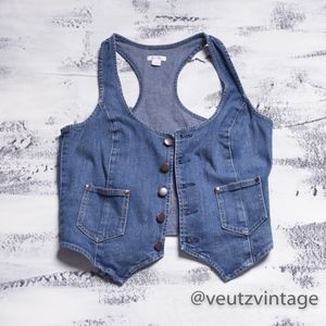 Xhilaration Denim Button Down Retro Vest Women's L